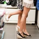 Shopping girls on tiptoe — Stock Photo #4169100