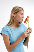 Smell flowers — Stock Photo