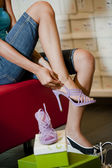 Trying shoes on — Stock Photo