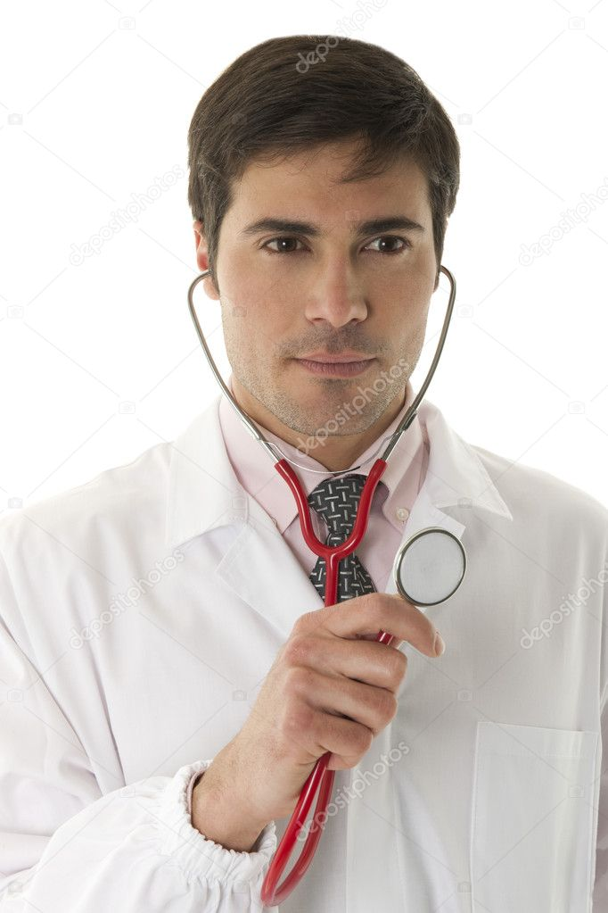 Male doctor holding stethoscope — Stock Photo #4161440
