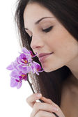 Beauty with Orchid — Stock Photo