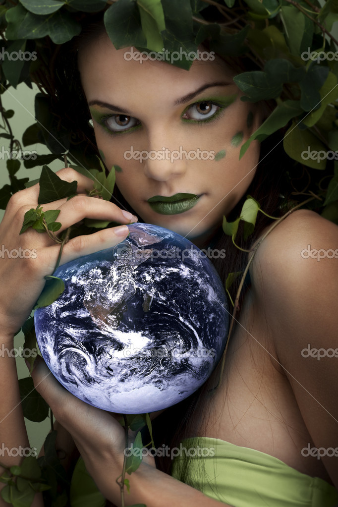 Mother nature holding something; you can put your object on the leaf — Stock Photo #4174700