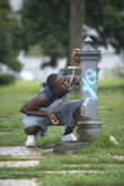 Thirsty athlete — Stock Photo
