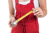 Female handworker with tape measure — Stock Photo