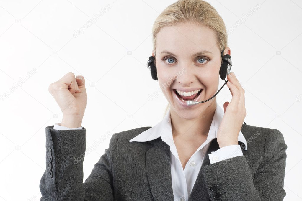 Happy customer service representative � Stock Photo ...