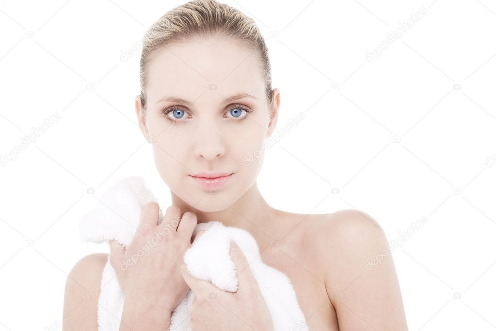 Beautiful woman wearing bathrobe/Towel — Stock Photo #4229040