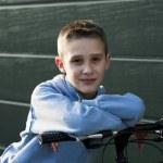 Little boy with bike — Stock Photo