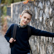 Schoolboy outdoors — Stock Photo