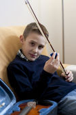 Young boy with his violin — Stock Photo