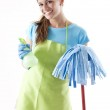 Happy Woman With Mop and Spray Bottle — Stock Photo #4308309