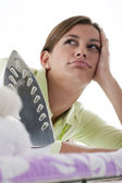 Housewife Fed Up Of Ironing — Stock Photo