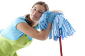 Tired Woman Doing the Cleaning — Stock Photo