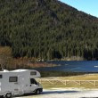 RV Parked At The Lake - Stock fotografie