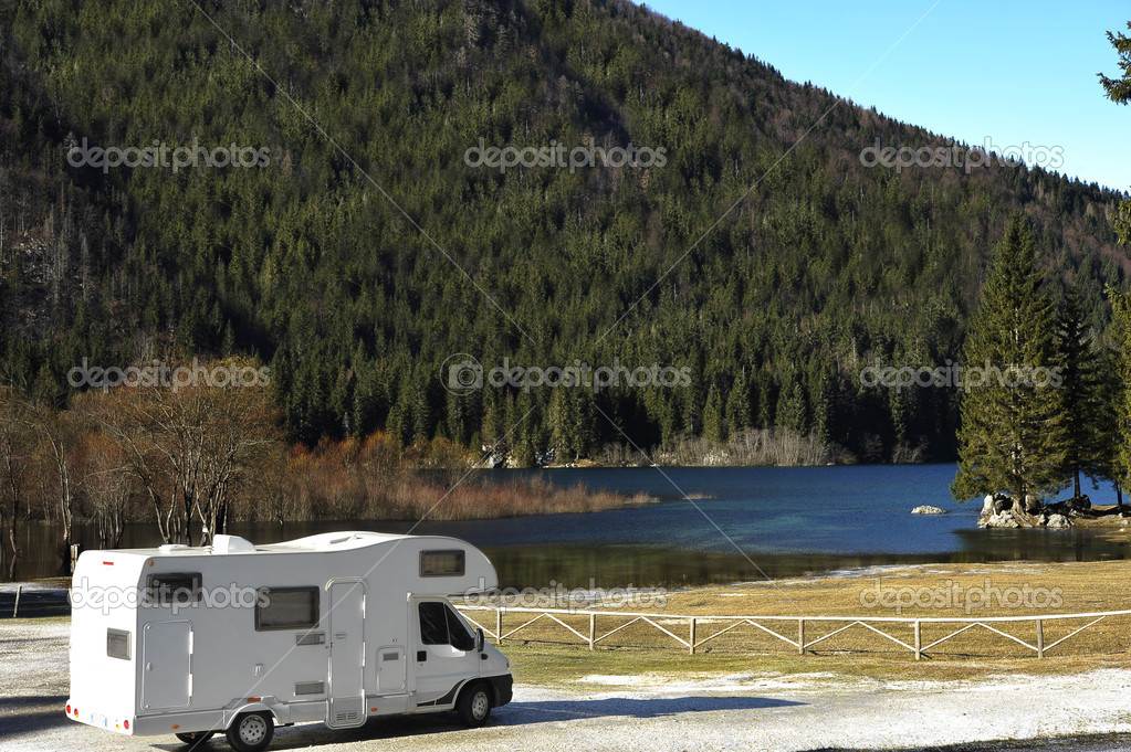 RV Parked At The Lake, taken in Italy, eastern Alps — Stock Photo #4325426