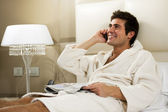 Relaxed Man in Bed — Stock Photo