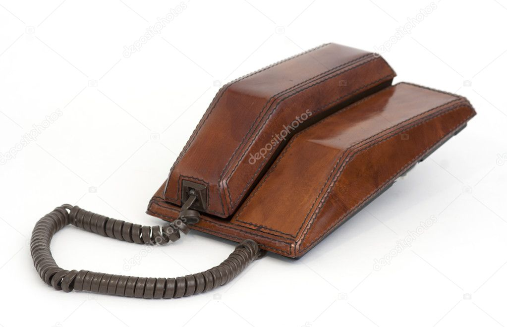 Vintage eames era contempra leather phone — Stock Photo #3588334