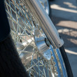 Motorcycle front wheel with spokes — Stock Photo #3646423