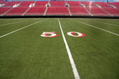 Football stadium 50 yard line — Stock Photo