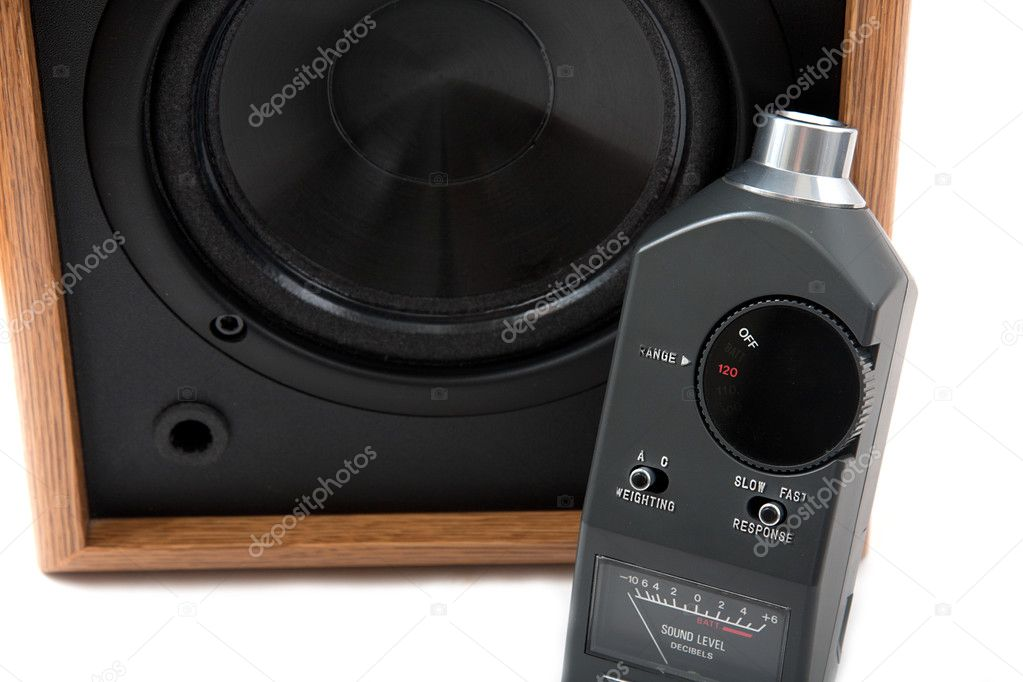 Sound level meter with speaker — Stock Photo #3704344