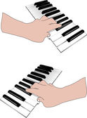 Hand and music keyboards — Stock Vector