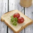 Aranged food two tomatoe on toast — Stock Photo