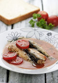 Served sardines with tomatoe sauce — Stock Photo