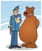 Bear and policeman — Stock Vector