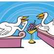 Stock Vector: Geese in ancient rome on feast