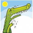Stock Vector: Crying crocodile