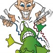 Crazy scientist and frog - Stock Vector