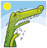 Crying crocodile — Stock Vector