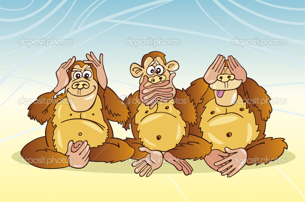 Cartoon illustration of three monkeys no see hear speak  Stock Vector #3647557