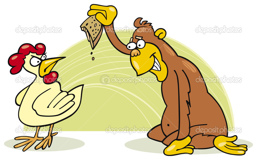 Illustration of malicious monkey and chicken  — Stock Vector #3647594