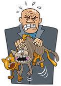 猫と怒っている人 — ストックベクタ