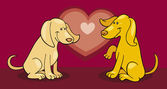 Puppies in love — Vector de stock