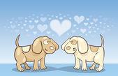 Puppies in love — Stock Vector