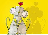 Myši v lásce — Stock vektor