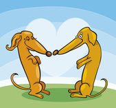 Dachshund Dogs in Love — Stock Vector