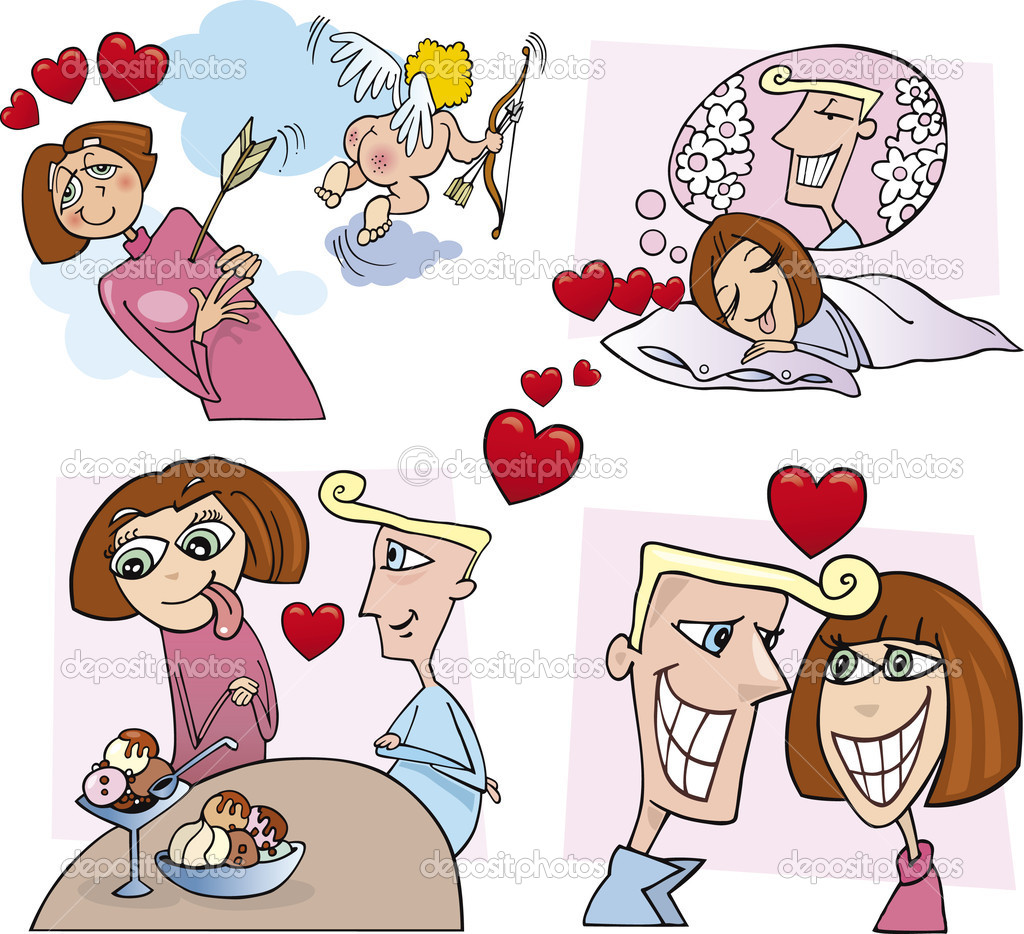 Illustration of young couple love comic story — Stock Vector #3659074