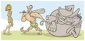 Prehistoric couple — Stock Vector