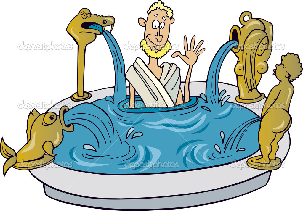 Illustration of Ancient citizen of Rome taking bath  Stock Vector #3668549