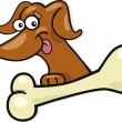 Dog with bone — Stock Vector
