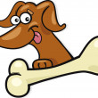 Dog with bone - Stock Vector