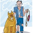 Bad dog and his battered owner — Stock Vector