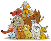 Cats and Dogs group — Stock Vector