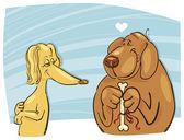 Dog in love — Stock Vector