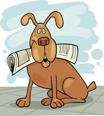 Dog with newspaper — Stock Vector