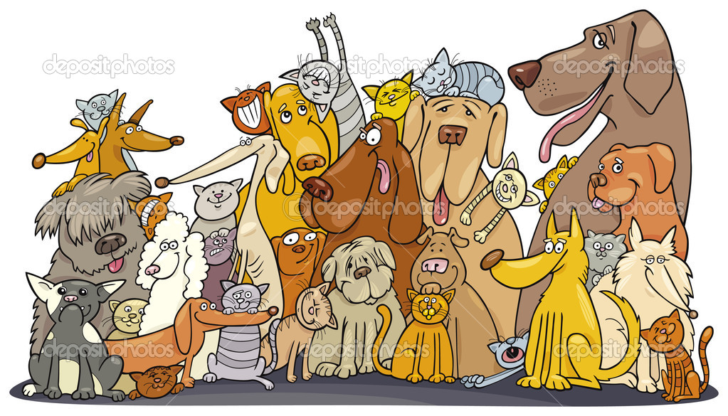 Illustration of Huge group of Cats and Dogs — Stock Vector #3676873