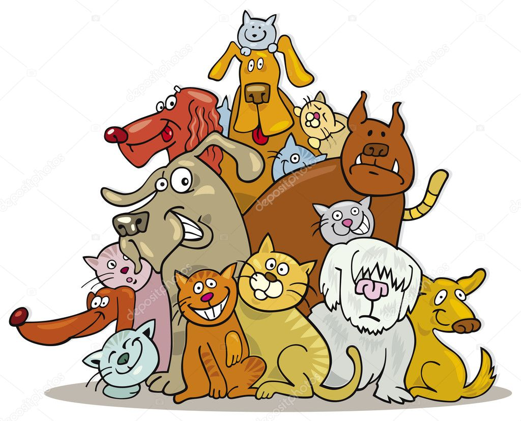 Illustration of Cats and Dogs group in friendship — Stock Vector #3676884