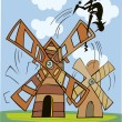Don Quixote and wind mill — Stock Vector #3687460